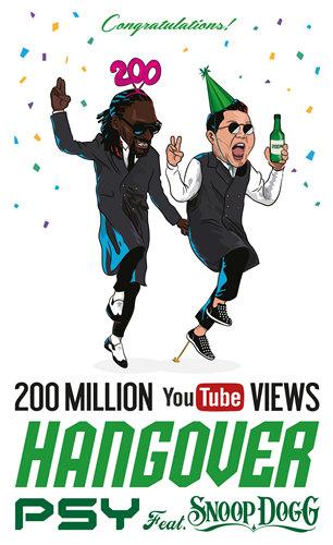PSY《Hangover》MV在YouTube的播放量突破2亿次